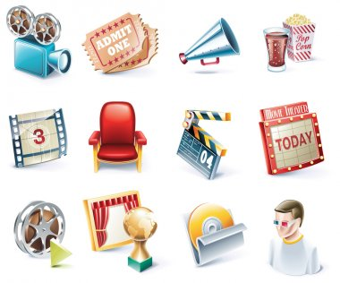 Vector cartoon style icon set. Part 32. Movie