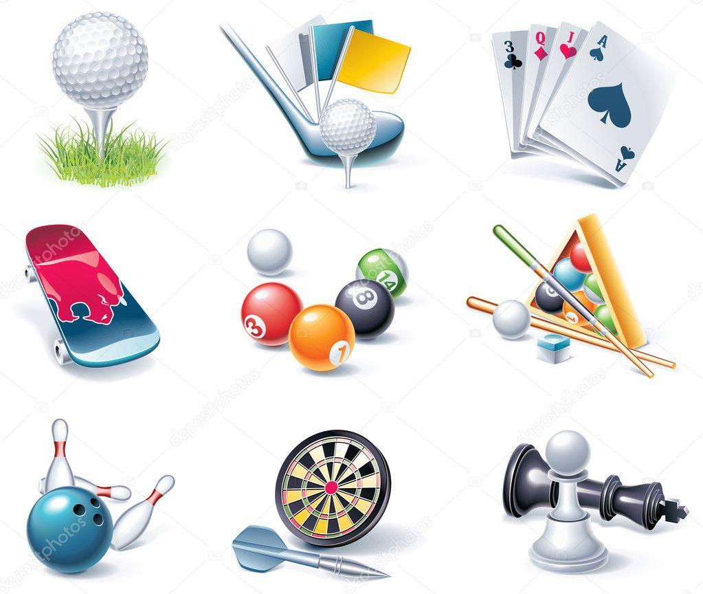Vector cartoon style icon set. Part 35. Sport