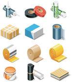 vektor stavební výrobky ikony. část 2. izolace