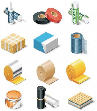 Vector building products icons. Part 2. Insulation
