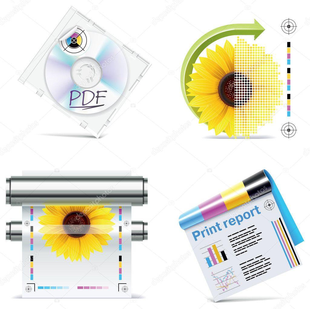 Vector print shop icon set. Part 6