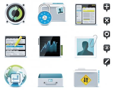 Set of the website or server administration icons clip art vector