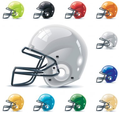 Set of the football-gridiron helmets in different colors stock vector