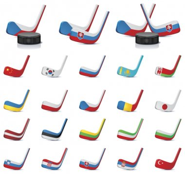 Vector ice hockey sticks-country flags. Part 1