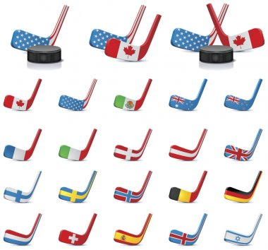 Vector ice hockey sticks-country flags. Part 2