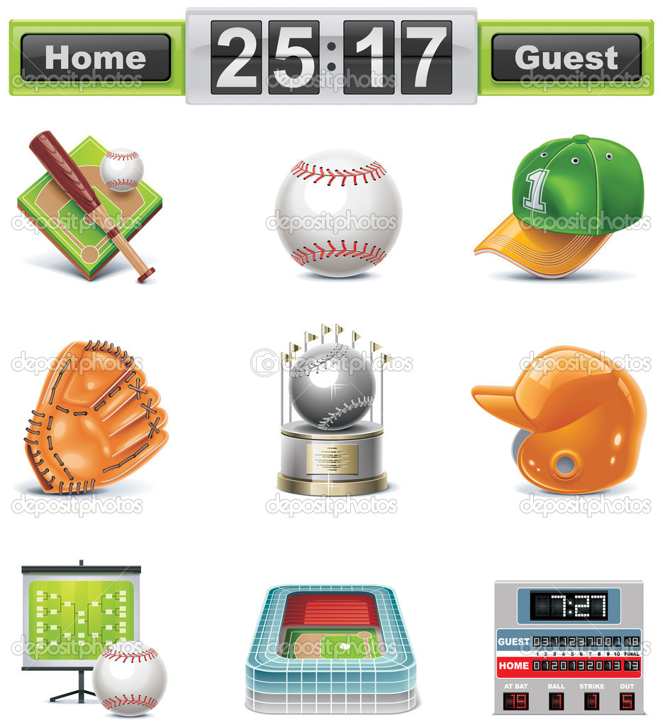 Vector baseball-softball icon set