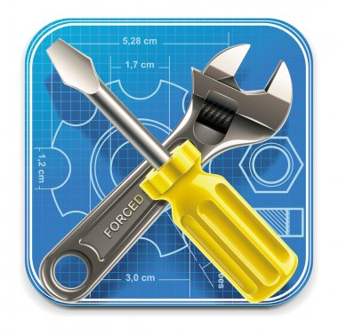 Vector wrench and screwdriver on blueprint XXL