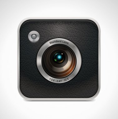 Vector square retro camera icon