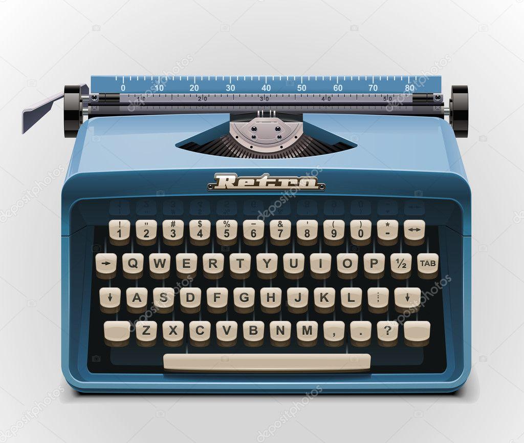 Vektorgrafiken Retro schreibmaschine auf blau Vektorbilder Retro ...