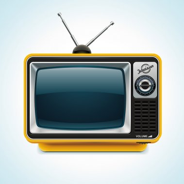 Detailed icon representing yellow retro tv with antenna stock vector
