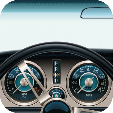 Vector car dashboard square icon