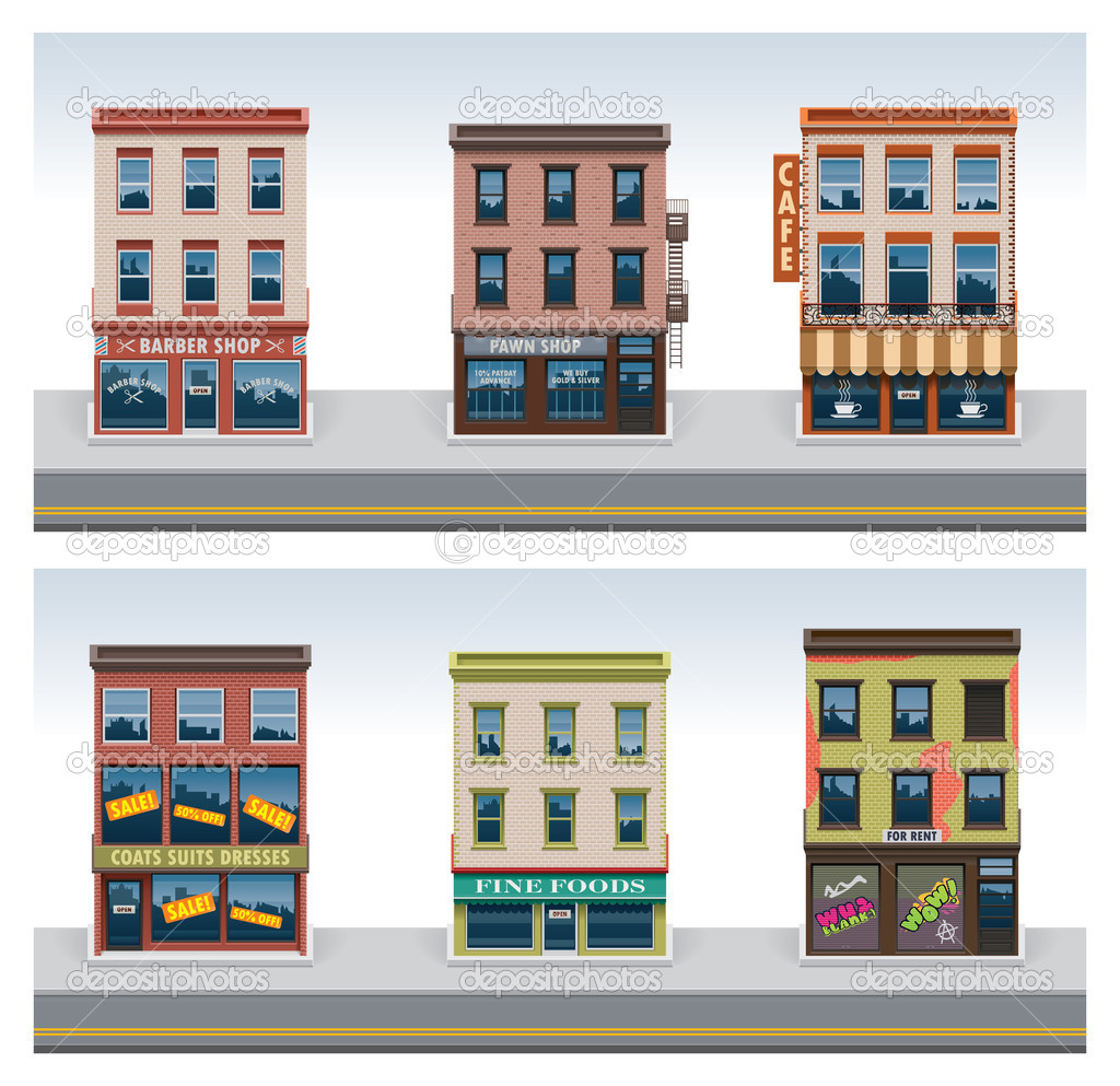 Vector city buildings icon set