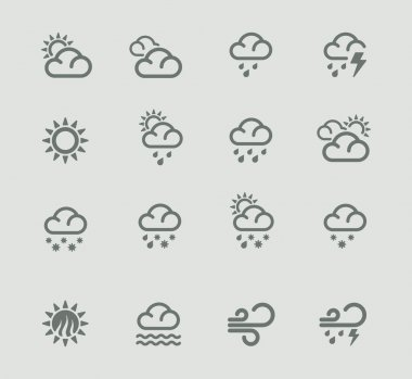 Set of the day weather forecast related pictograms stock vector