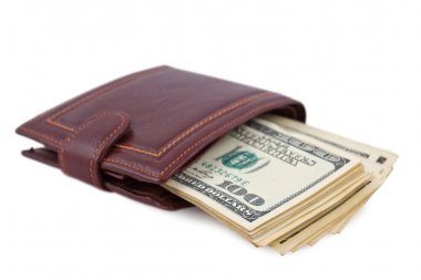 Leather purse with pack of money