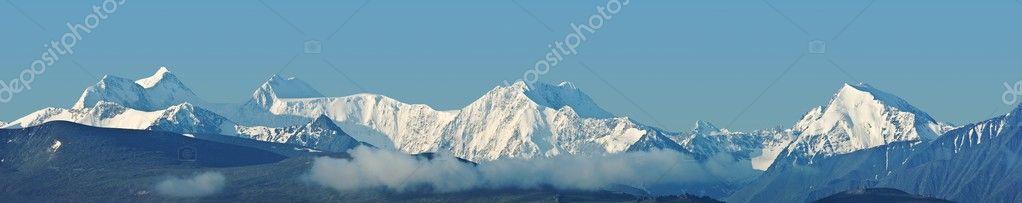 Snowbound mountains panorama
