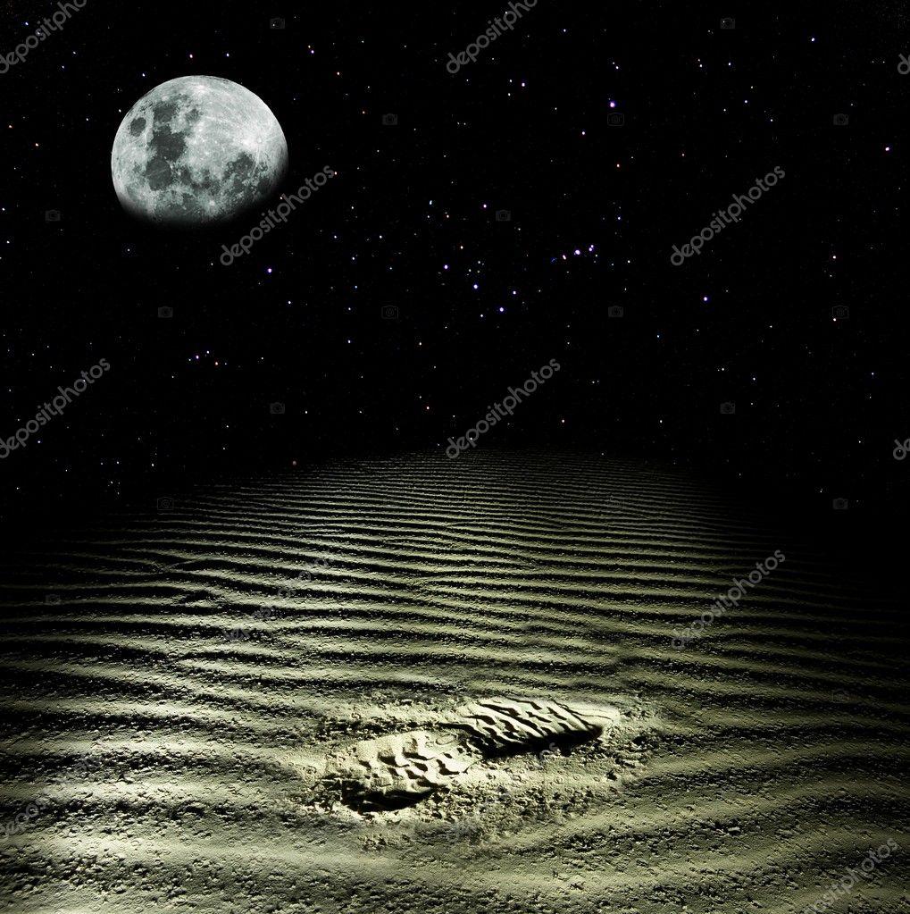 Footprint of man in a dust
