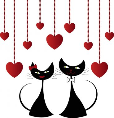 Love black cats with hearts on a white background clip art vector