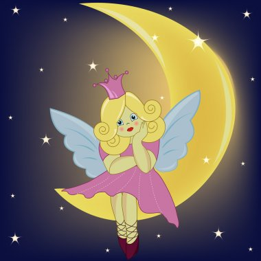 The beautiful girl the fairy sitting on the moon