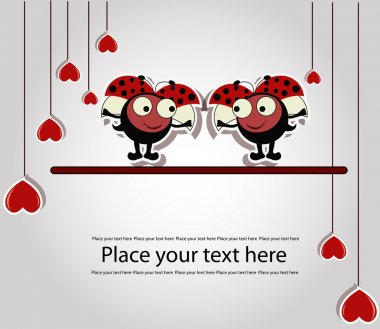 Two enamoured ladybirds with hearts on a gray background clip art vector