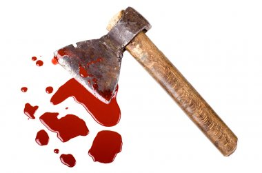 Instrument of crime axe in puddle blood