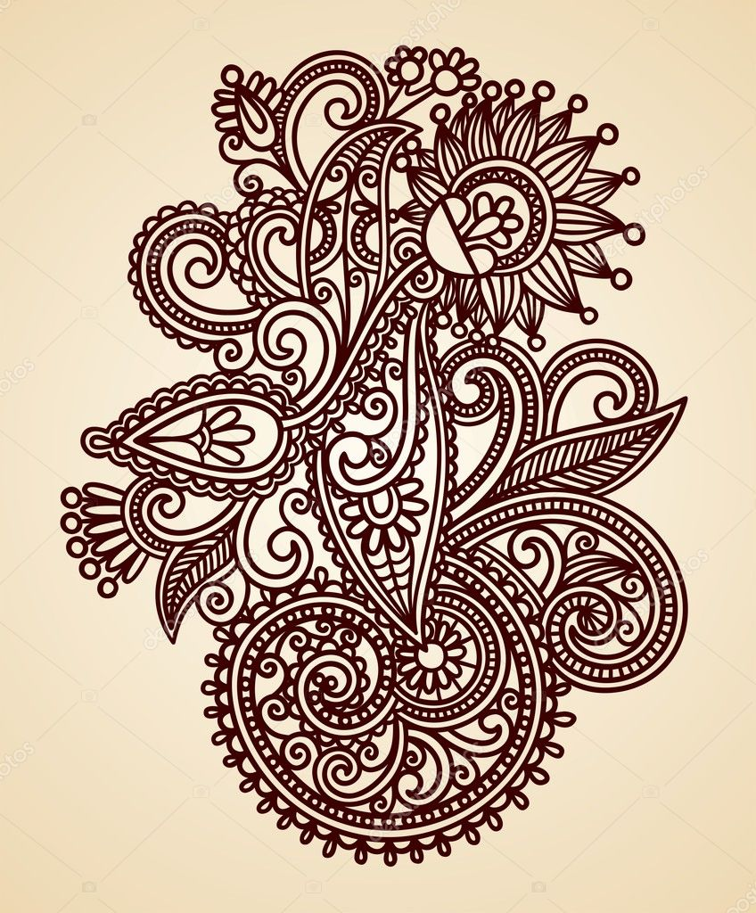 Henna Tattoo Vector: Stock Vector © Karakotsya