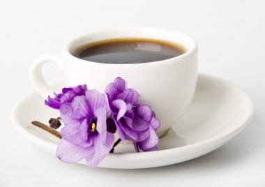 Cup of coffee and cookies with chocolate and violet
