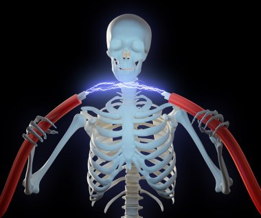 A skeleton holding high voltage cables with an electric discharge between t