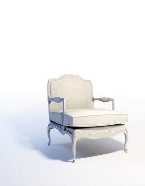 White armchair in an empty abstract interior