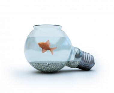 Light bulb with a goldfish