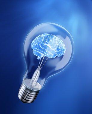 Brain in a bulb - idea concept