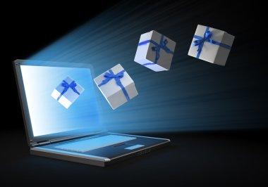 Chrsitmas online shopping concept illustration