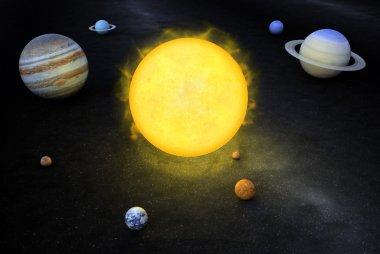 3D llustration of the solar system