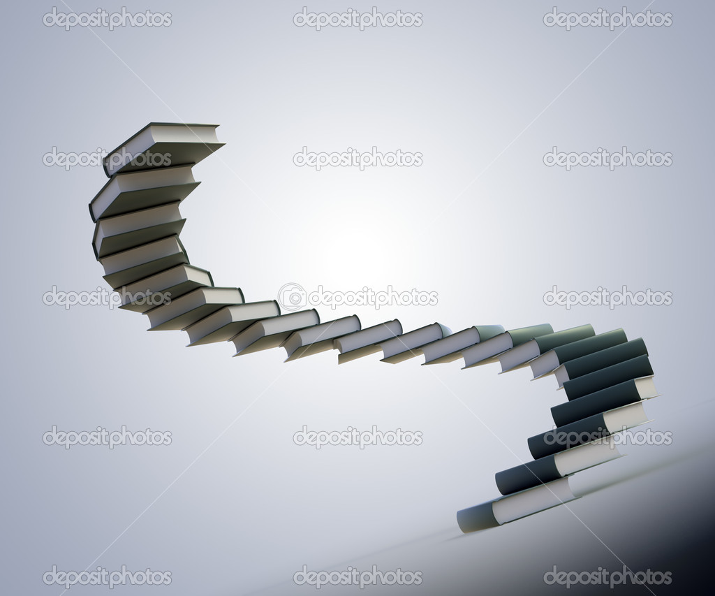 Spiral Stairs Made Out Of Books Education Progress Stock Photo