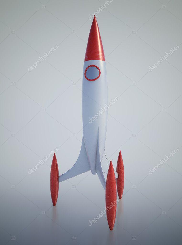 Fotografie cartone aereo rosso razzo spaziale cartone animato