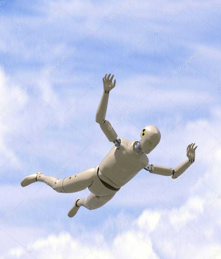 Crash test dummy goes sky diving.