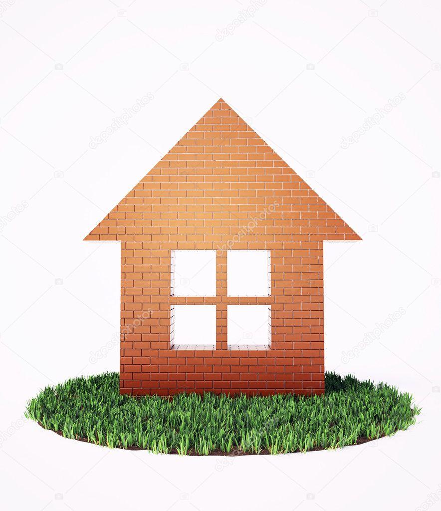 Un simbolo di casa di mattoni in una macchia di erba for Piani di casa di mattoni