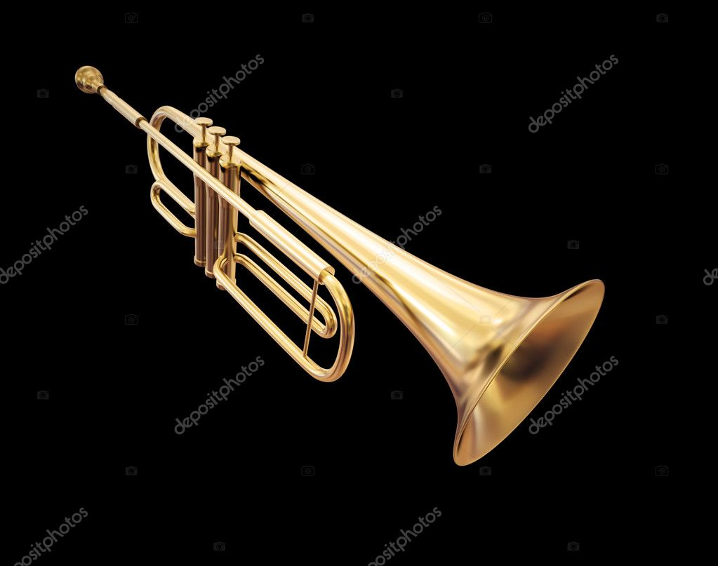Golden trumpet isolated on a black background