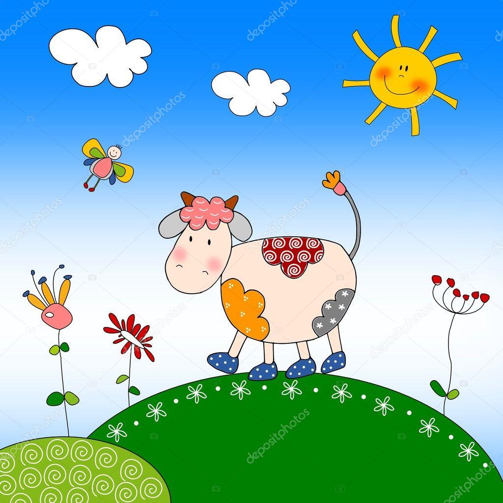 Illustration for children - Cow