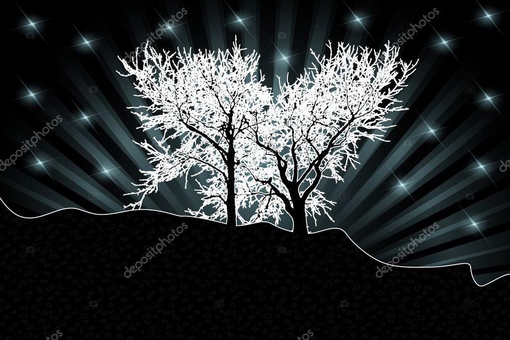 White trees silhouettes