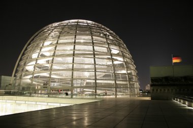Reichstag copula dome view at night, berlin, germany