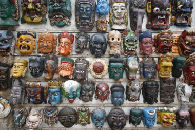 Masks on wall in nepal