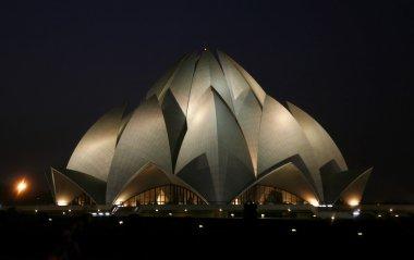 Lotus temple at night, delhi, india