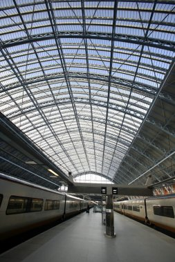 Eurostar trains in the station of st pancras
