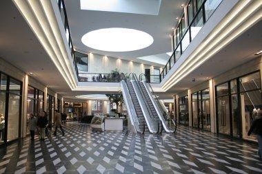 Shopping mall and escalators