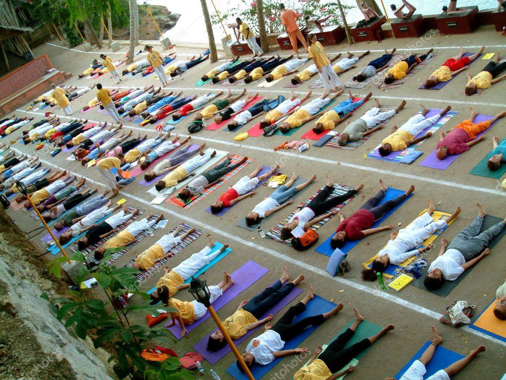 Yoga Class in Sivananda ashram in Neyyar Dam, Kerala, India