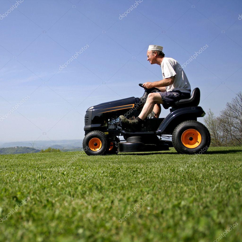 Man sitting on a lawnmower