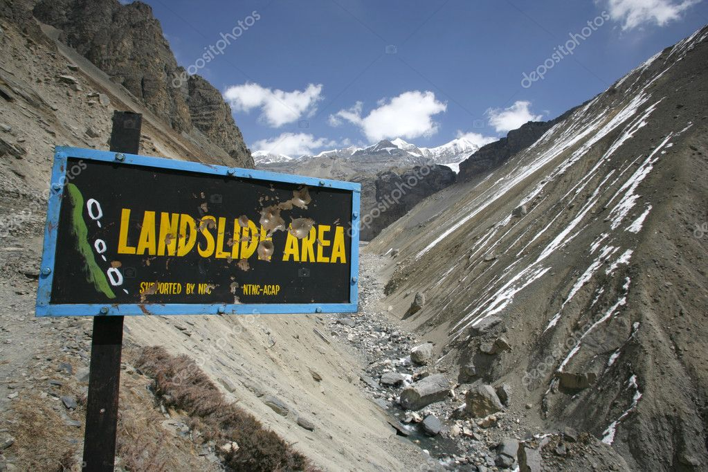 Landslide prone area on annapurna circuit, nepal