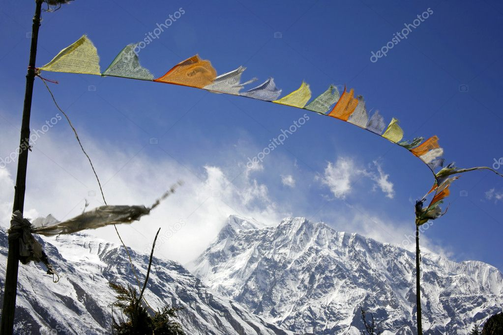 Praying flags floating in the wind in front of the annapurnas, nepal