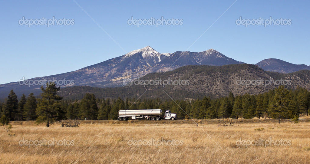 A Semi Tanker Truck at the Base of the San Francisco Peaks