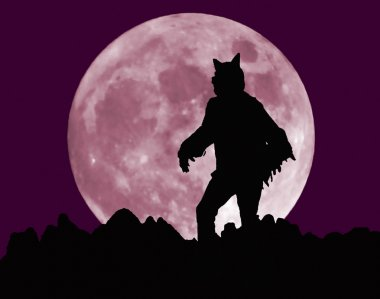 A Werewolf Stands Menacingly Before a Full Moon